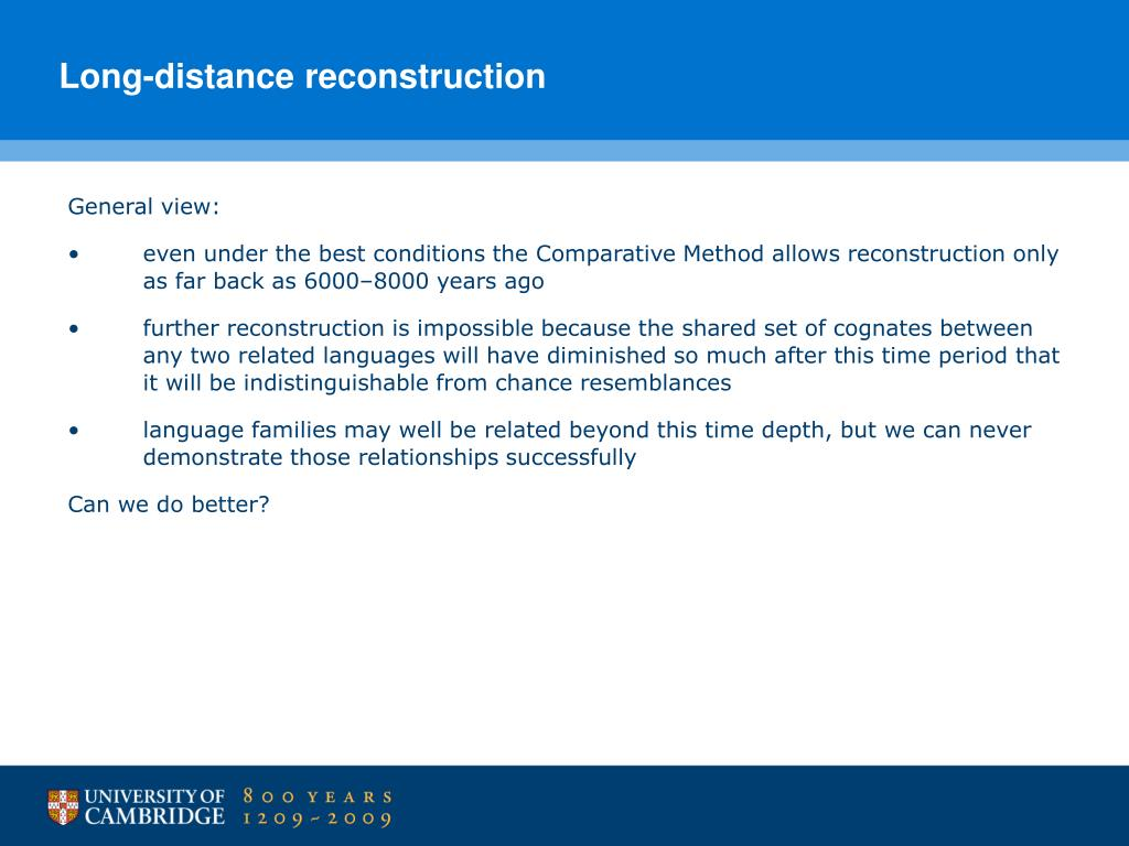 Long-distance reconstruction