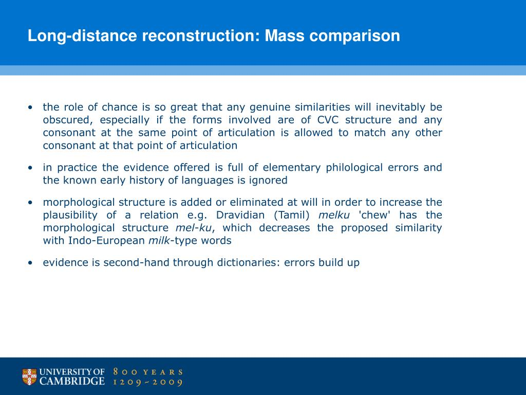 Long-distance reconstruction: Mass comparison