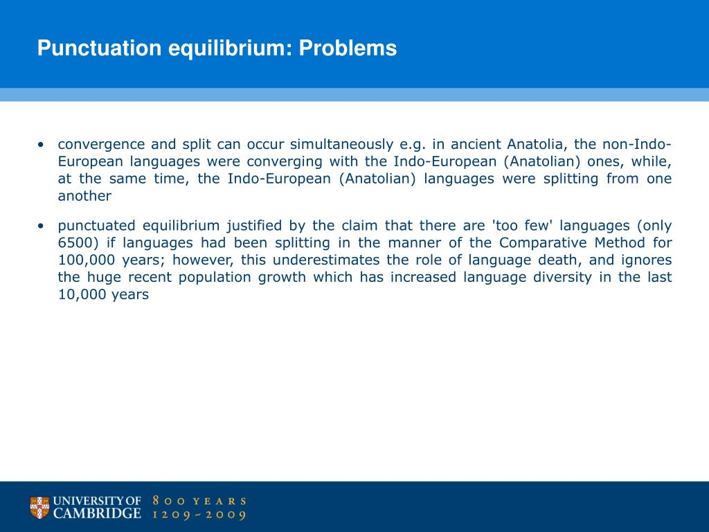 Punctuation equilibrium: Problems