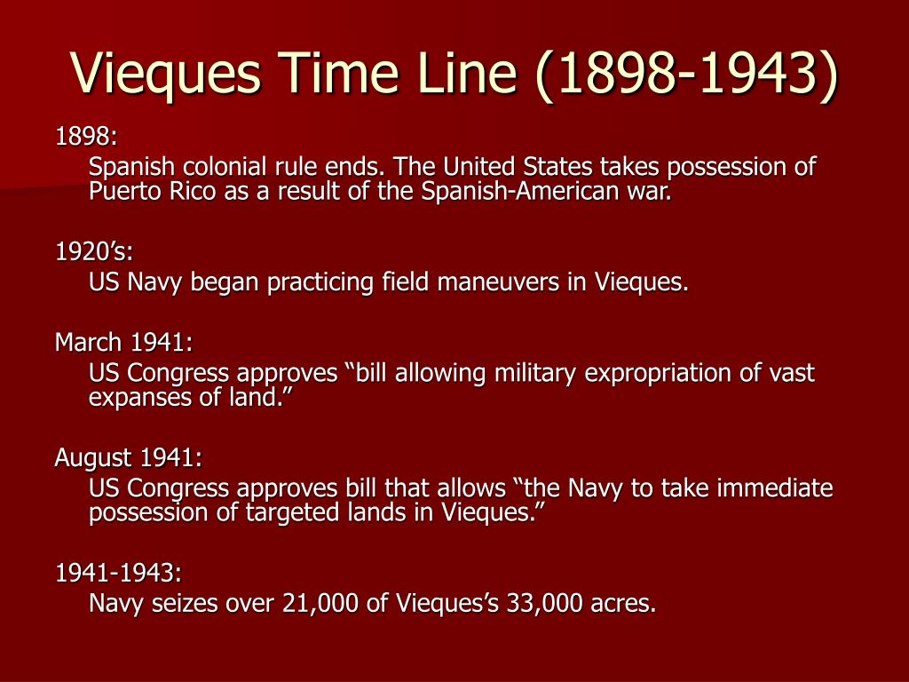 Vieques Time Line (1898-1943)