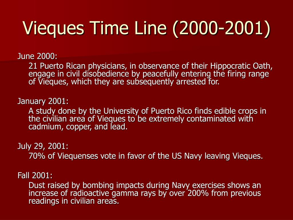 Vieques Time Line (2000-2001)