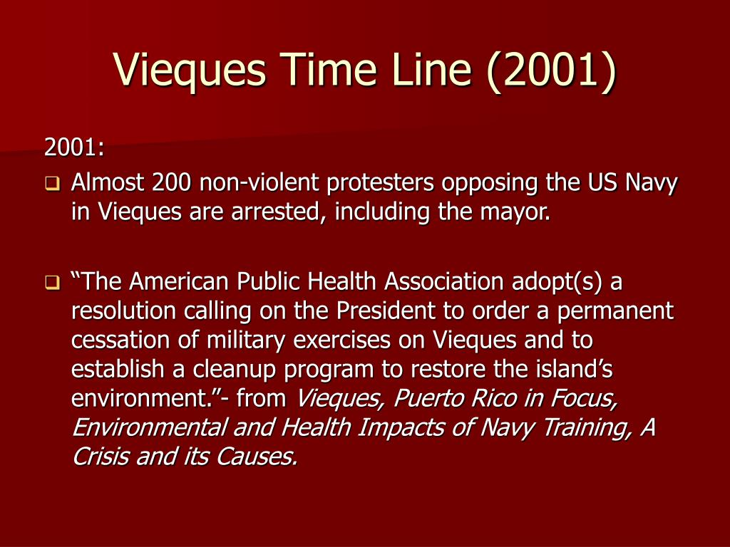 Vieques Time Line (2001)