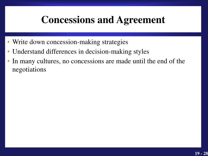 Concessions and Agreement