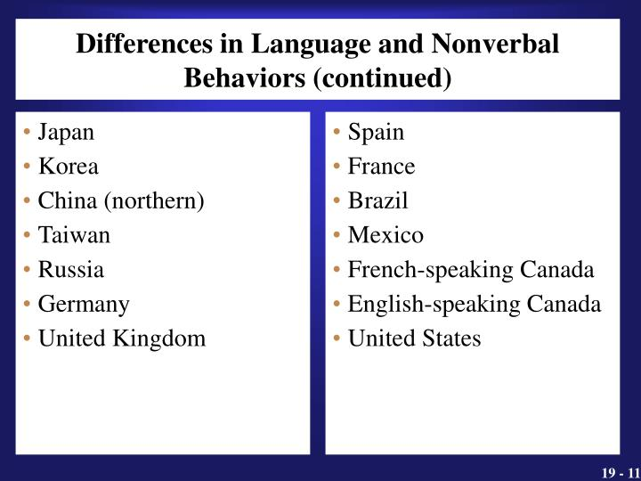 Differences in Language and Nonverbal Behaviors (continued)