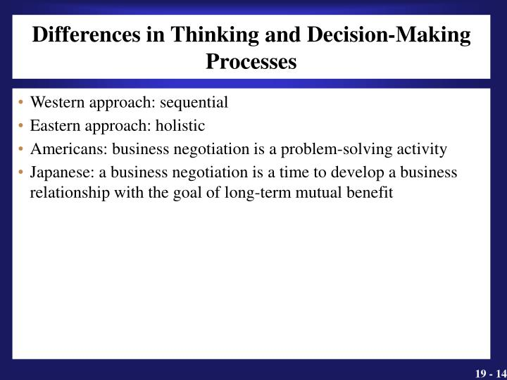 Differences in Thinking and Decision-Making Processes