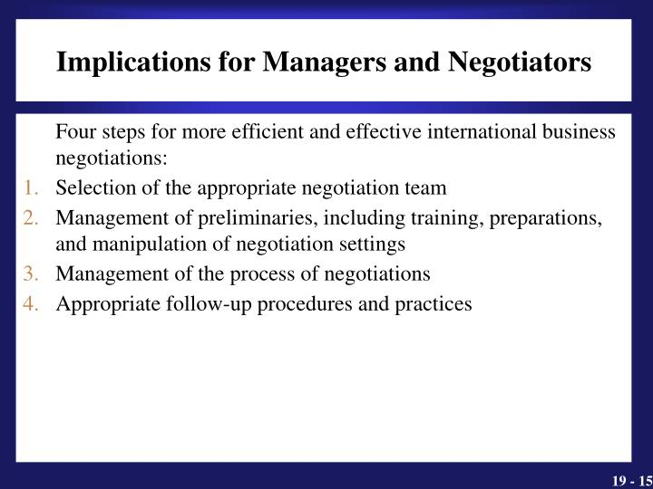 Implications for Managers and Negotiators