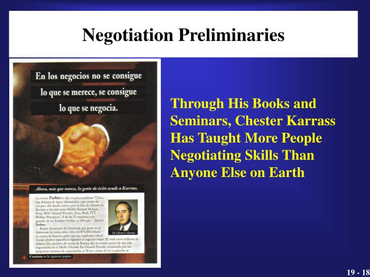Negotiation Preliminaries