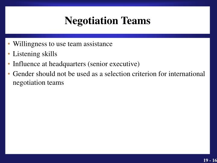 Negotiation Teams