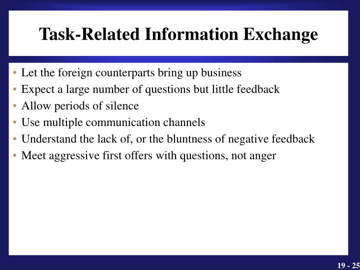 Task-Related Information Exchange