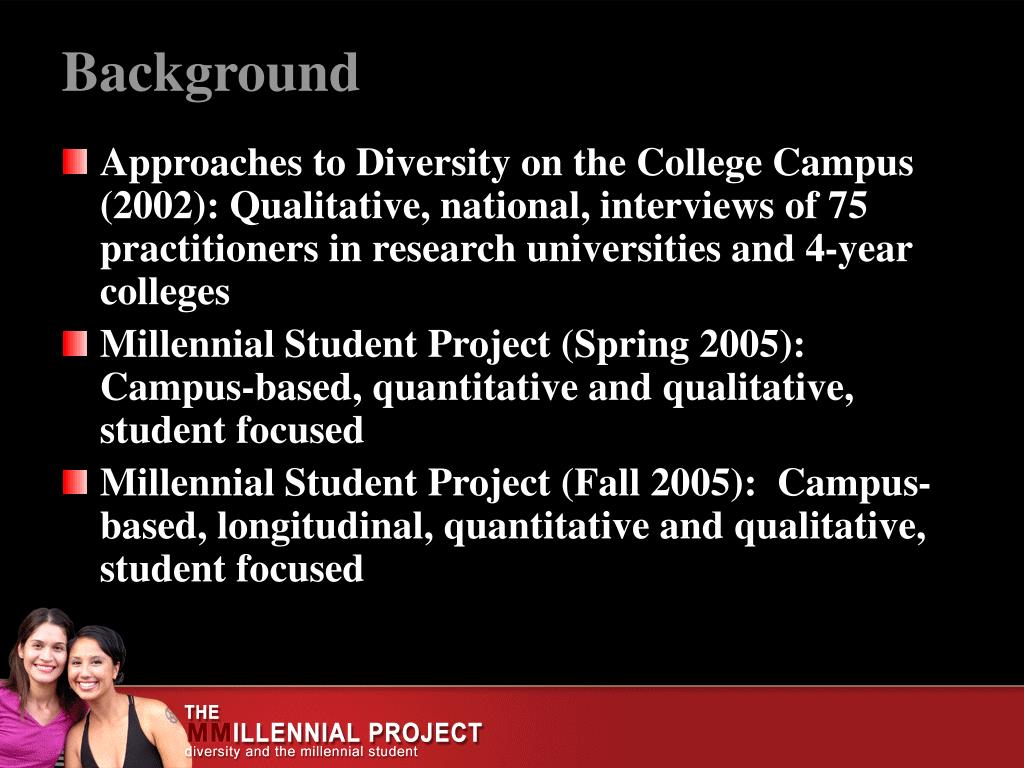 Approaches to Diversity on the College Campus (2002): Qualitative, national, interviews of 75 practitioners in research universities and 4-year colleges