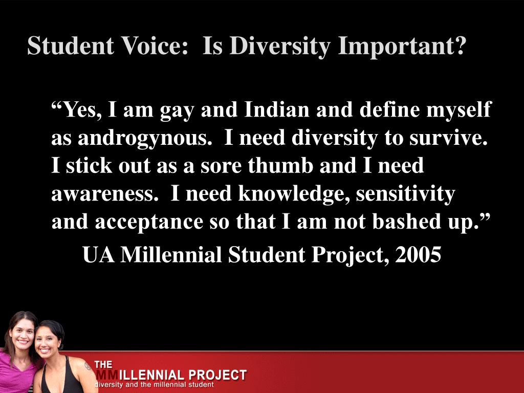 """Yes, I am gay and Indian and define myself as androgynous.  I need diversity to survive.  I stick out as a sore thumb and I need awareness.  I need knowledge, sensitivity and acceptance so that I am not bashed up."""