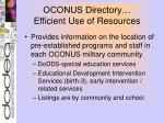 oconus directory efficient use of resources