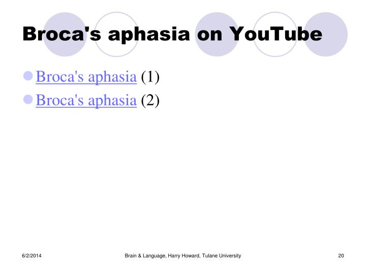 Broca's aphasia on YouTube