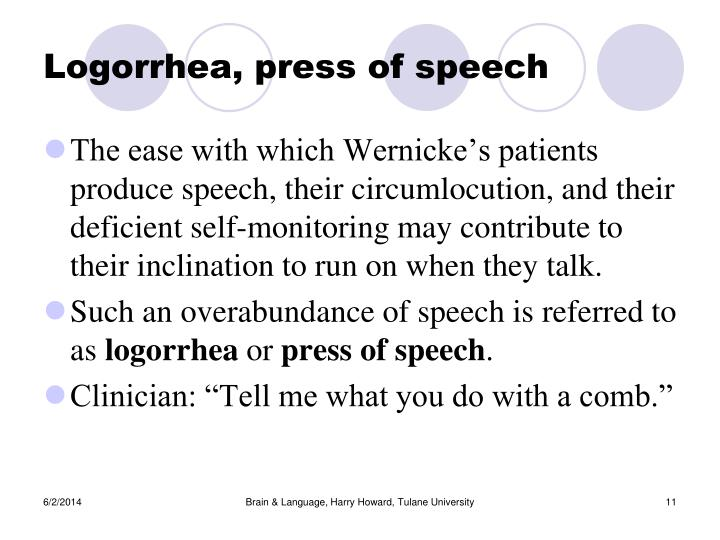 Logorrhea, press of speech