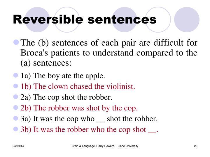 Reversible sentences