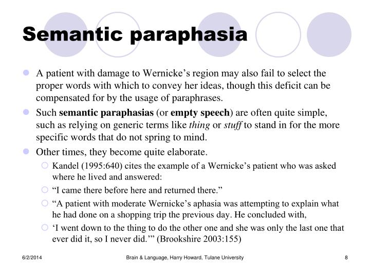 Semantic paraphasia