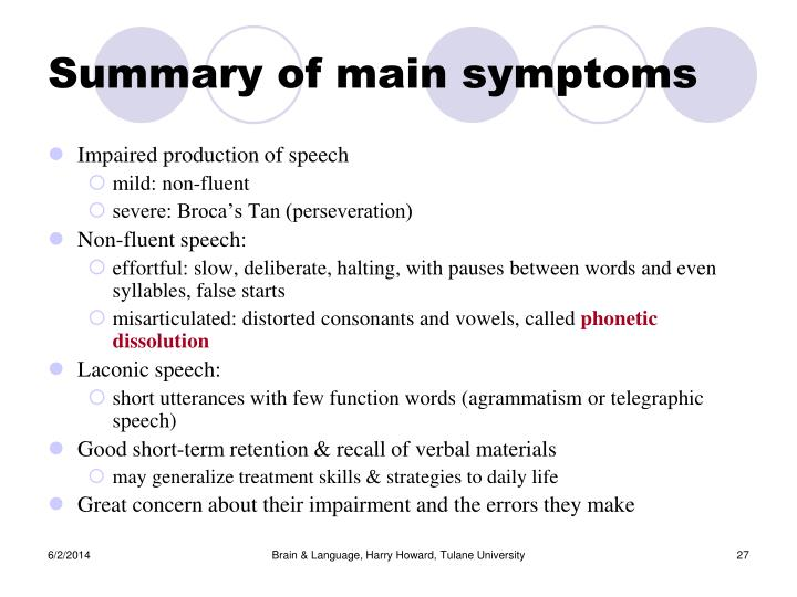 Summary of main symptoms