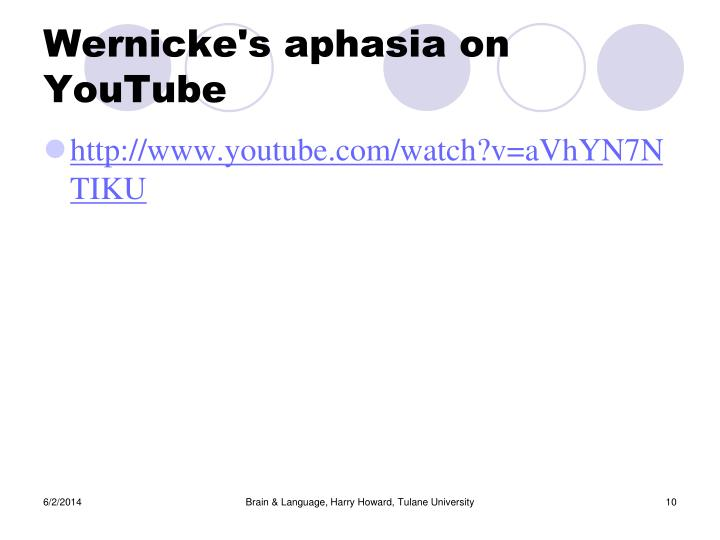 Wernicke's aphasia on YouTube