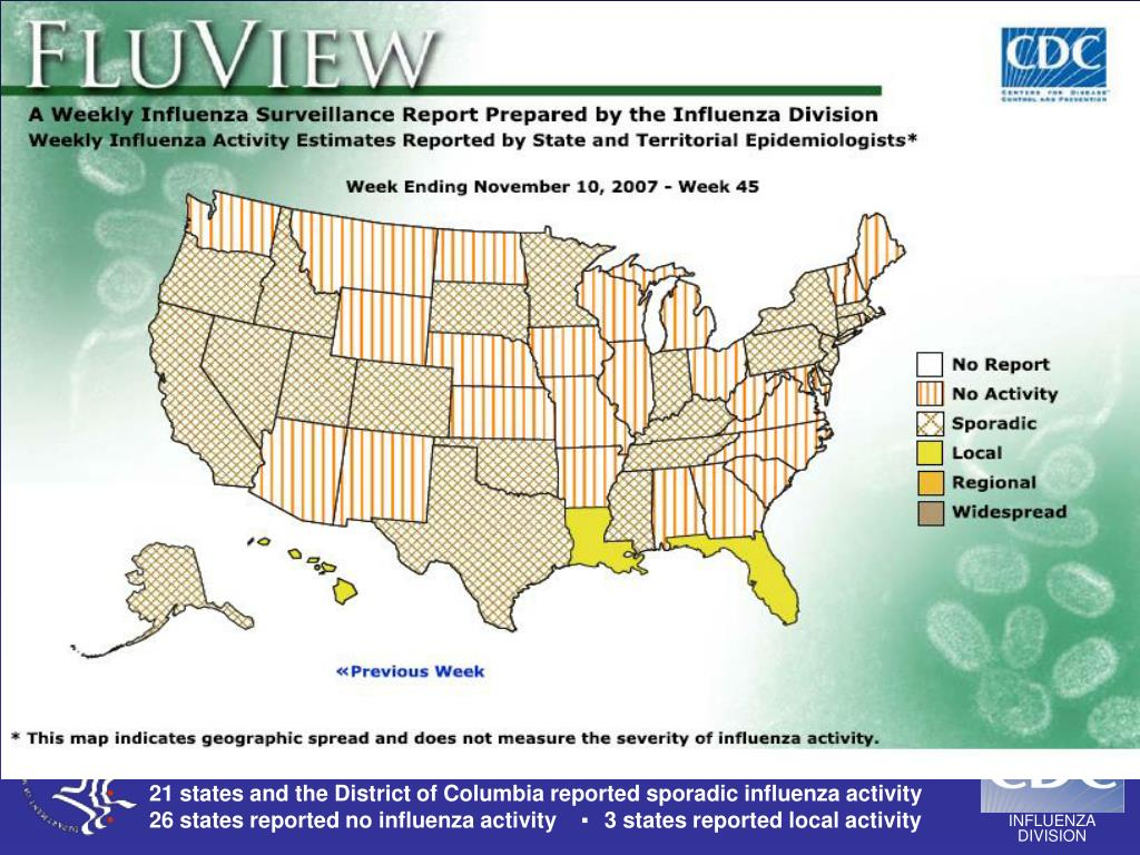 21 states and the District of Columbia reported sporadic influenza activity