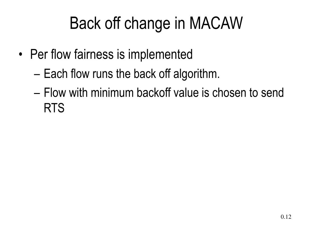 Back off change in MACAW