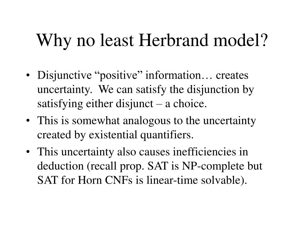 Why no least Herbrand model?