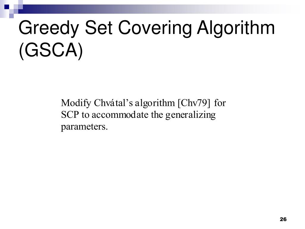 Greedy Set Covering Algorithm (GSCA)