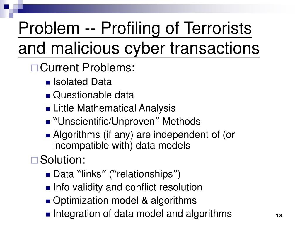Problem -- Profiling of Terrorists and malicious cyber transactions