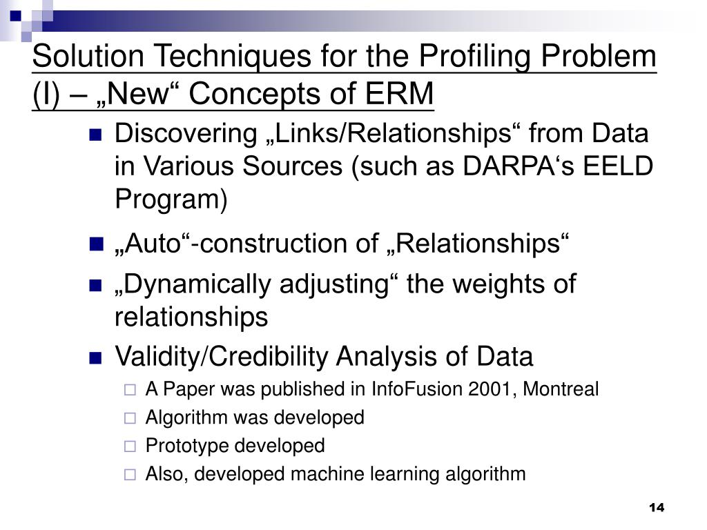 """Solution Techniques for the Profiling Problem (I) – """"New"""" Concepts of ERM"""