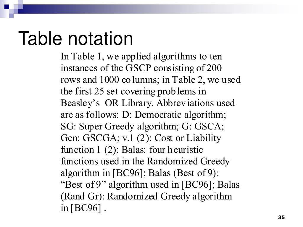 Table notation