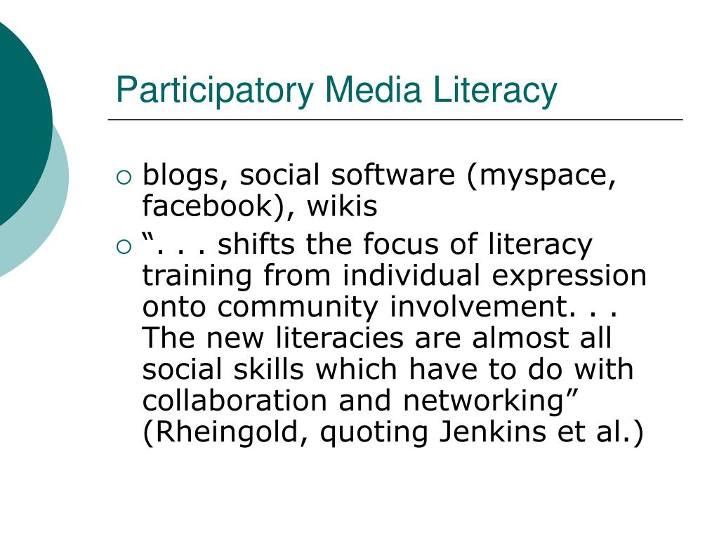 Participatory Media Literacy