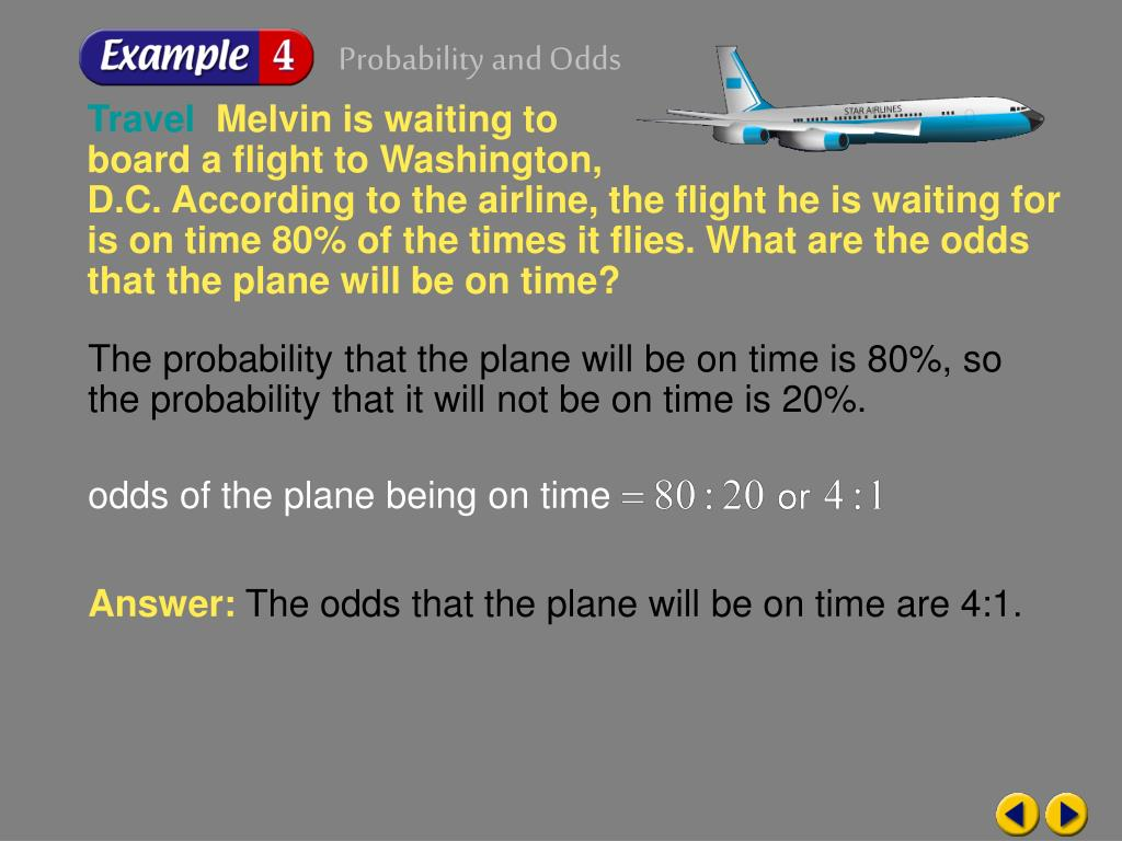 odds of the plane being on time