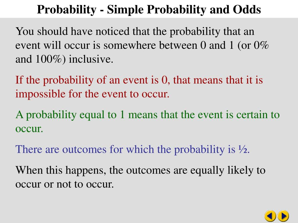 Probability - Simple Probability and Odds