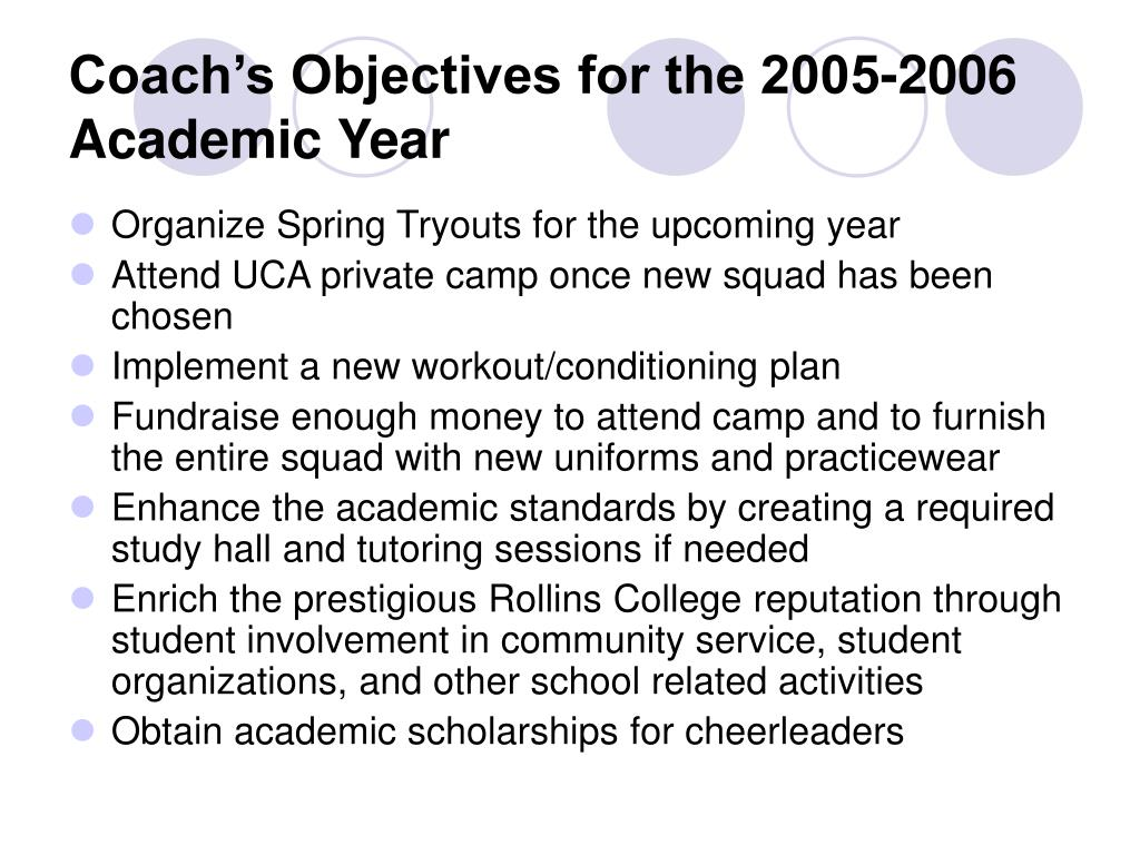 Coach's Objectives for the 2005-2006 Academic Year
