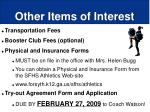 other items of interest