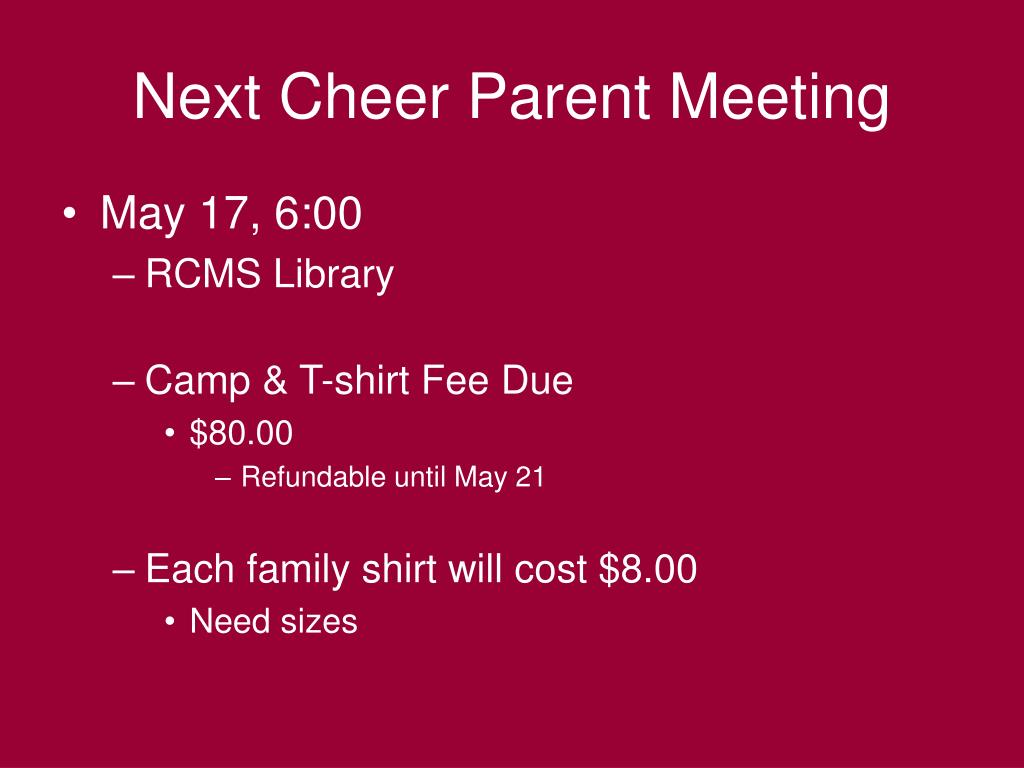 Next Cheer Parent Meeting