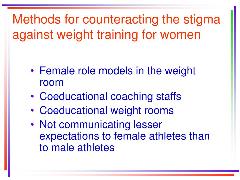 Methods for counteracting the stigma against weight training for women