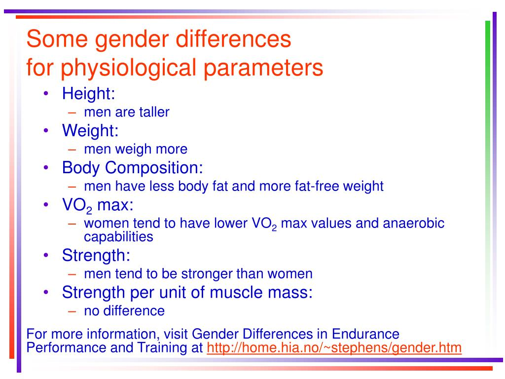 Some gender differences