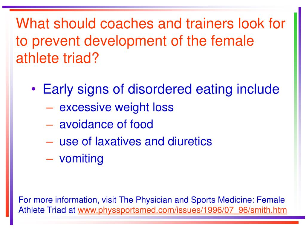 What should coaches and trainers look for to prevent development of the female athlete triad?