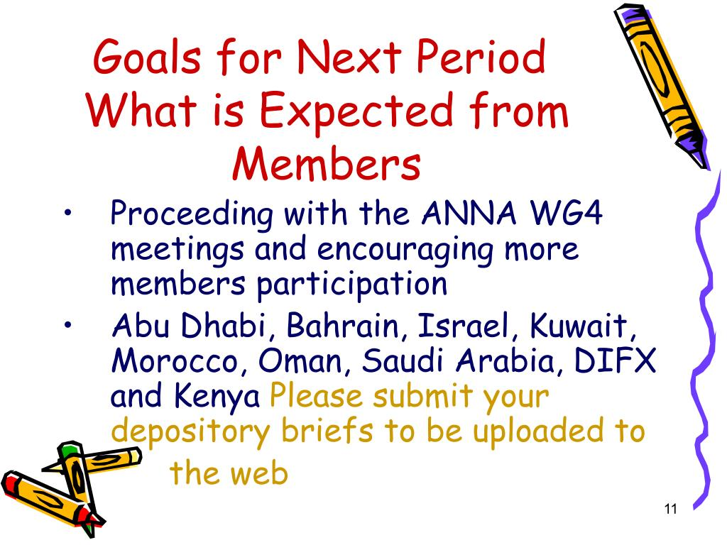 Goals for Next Period