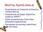 meeting agenda cont d
