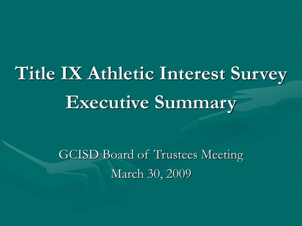 Title IX Athletic Interest Survey