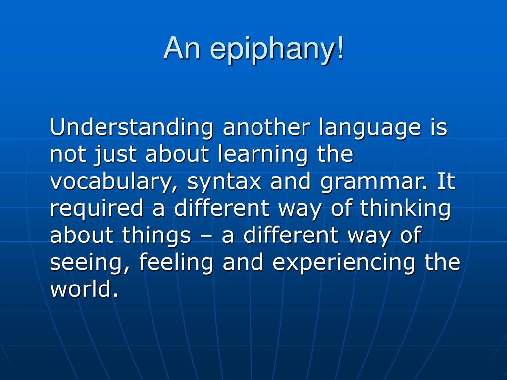 An epiphany!
