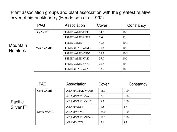 Plant association groups and plant association with the greatest relative cover of big huckleberry (Henderson et al 1992)