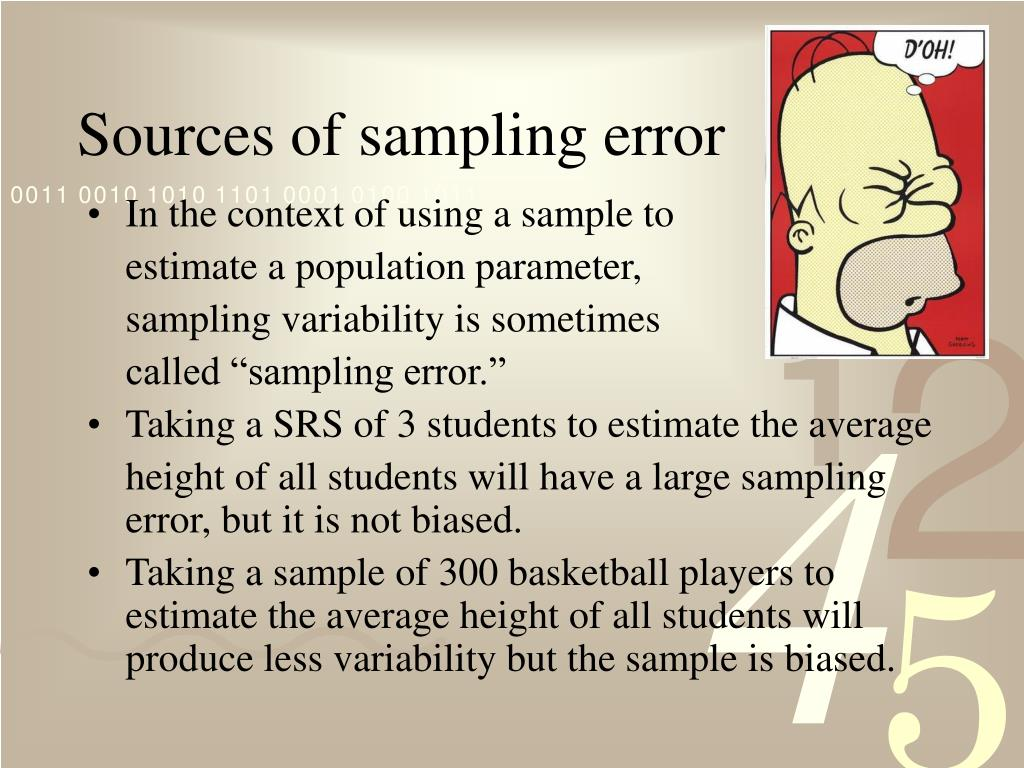 Sources of sampling error
