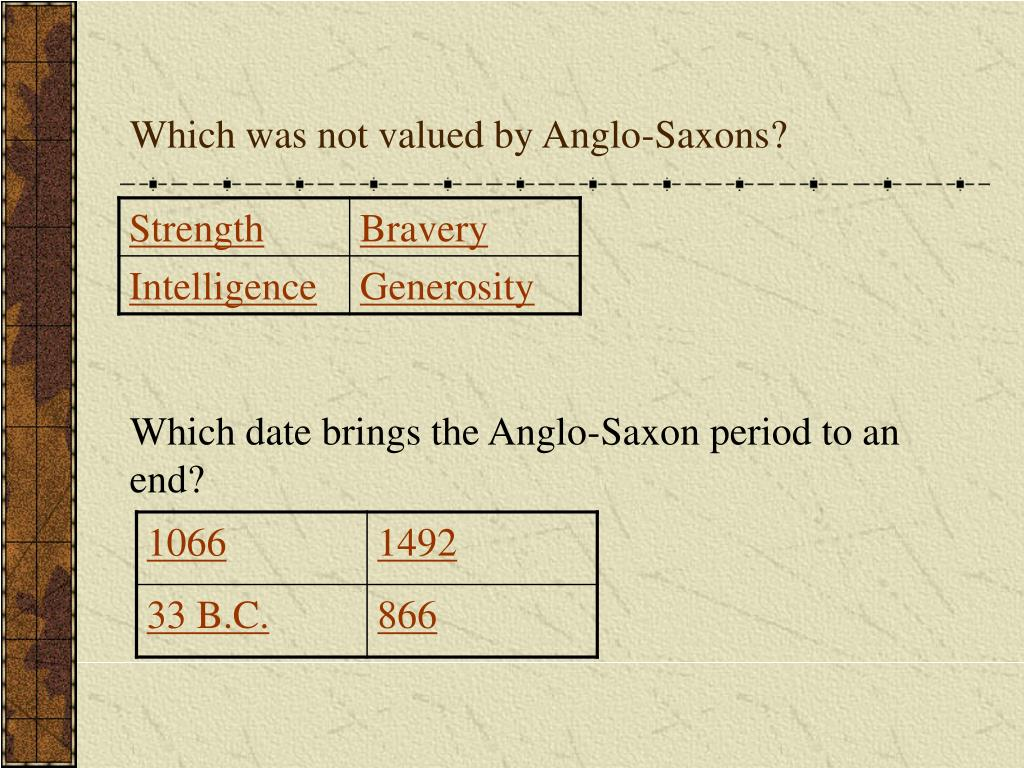 Which was not valued by Anglo-Saxons?