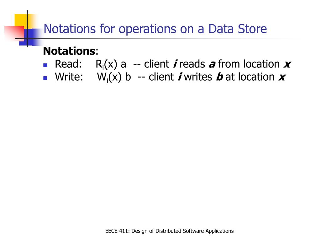 Notations for operations on a Data Store