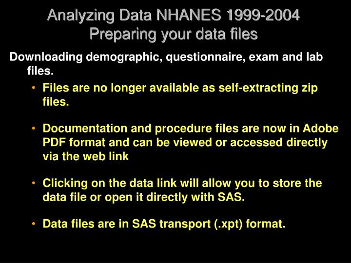 Analyzing Data NHANES 1999-2004