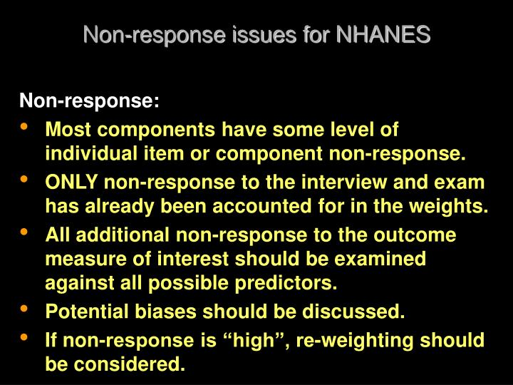 Non-response issues for NHANES