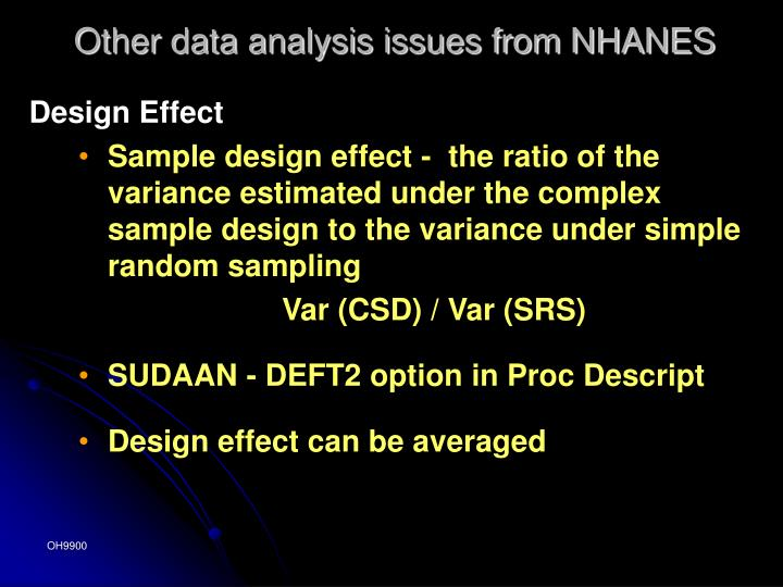 Other data analysis issues from NHANES