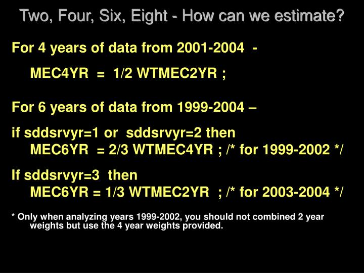 Two, Four, Six, Eight - How can we estimate?